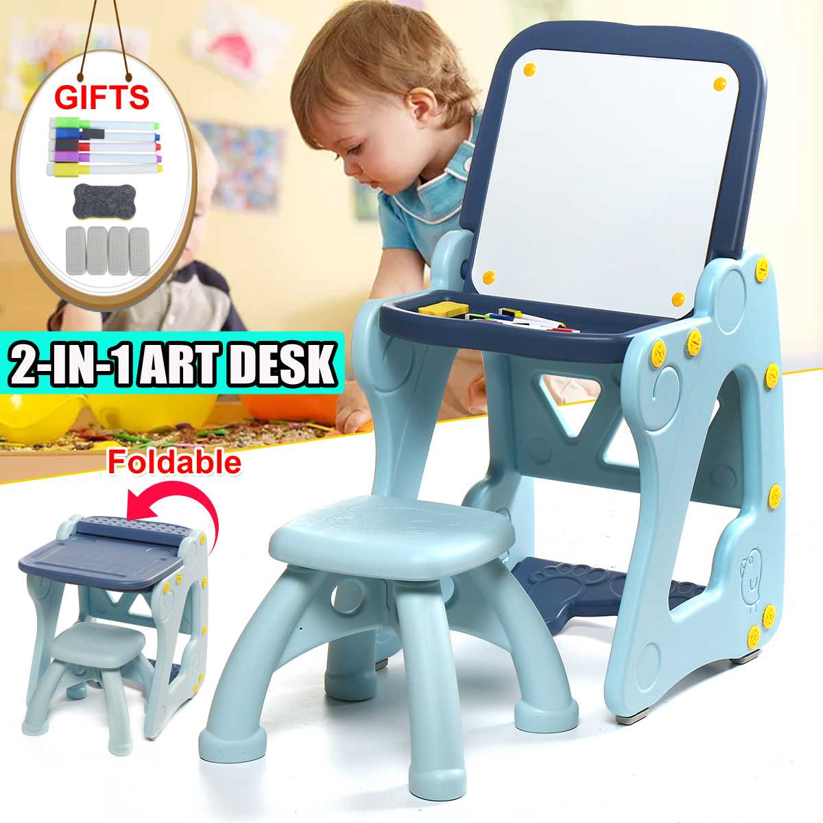 2 in 1 Art Desk Foldable Children Tables Adjustable Desk and Chair Combination Desktop Kid Writing board Drawing Easel blue