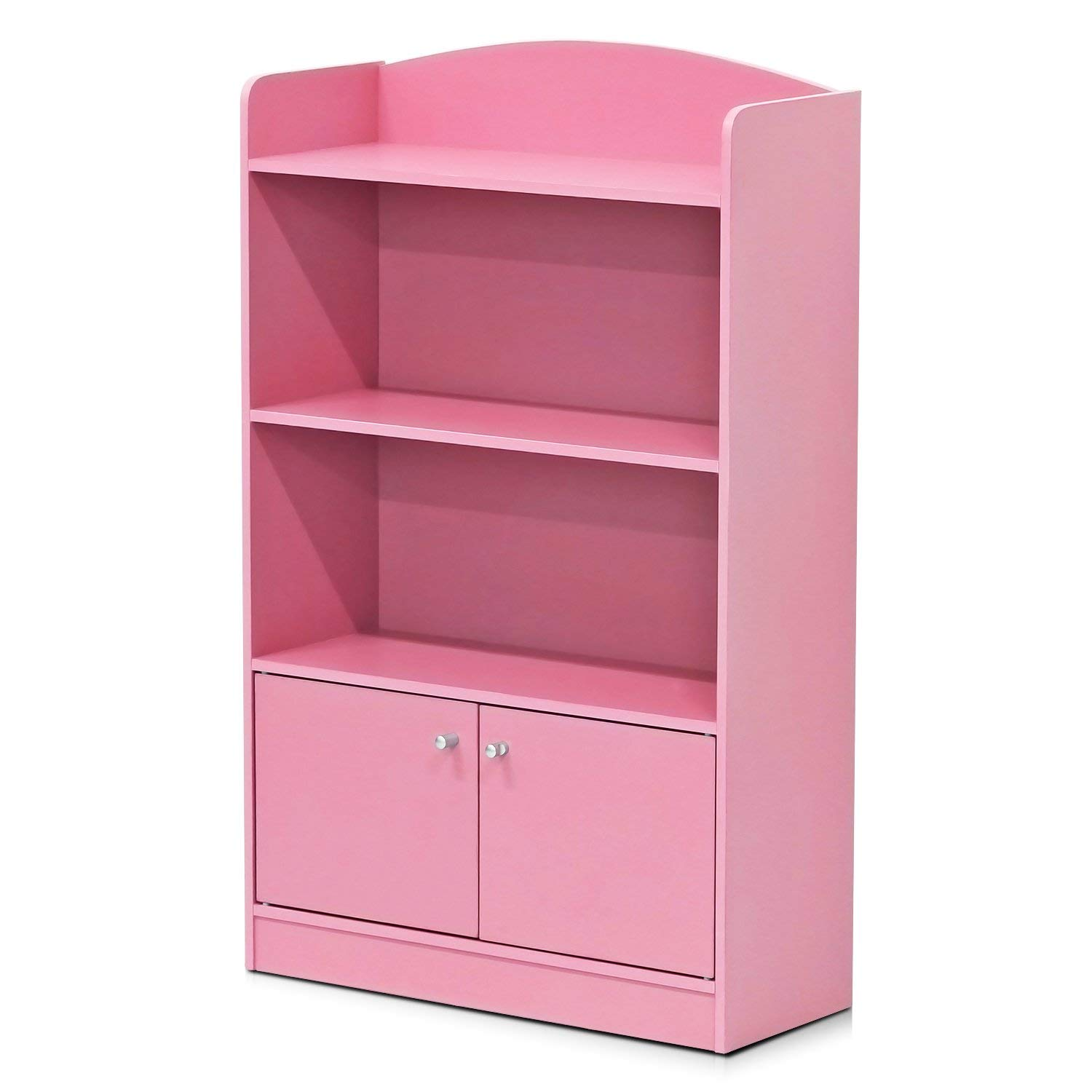 Furinno FR16121PK Stylish Kidkanac Bookshelf with Storage Cabinet, Pink