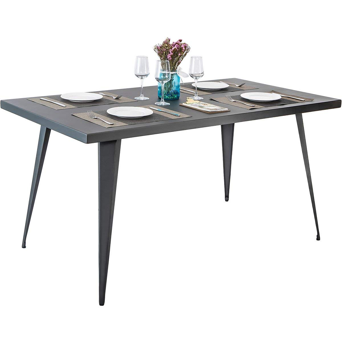 Harper&Bright Designs Rectangular Metal Dining Table (Gun Metal)