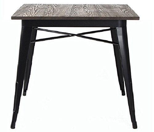 VH FURNITURE Metal Indoor-Outdoor Dining Table Elm Wood Top, Black